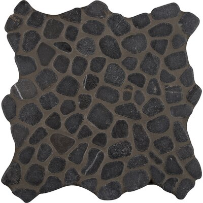 Tumbled 12 x 12 Marble Pebble Mosaic Tile in Black