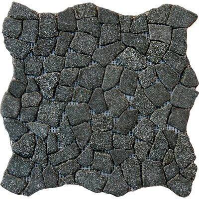 Flat Meshed 16 x 16 Granite Pebble Mosaic Tile in Charcoal