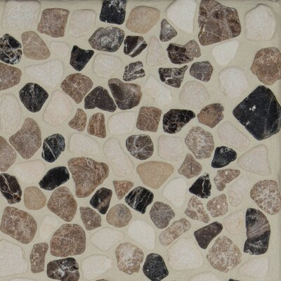 Mix Tumbled 12 x 12 Marble Pebble Mosaic Tile in Brown