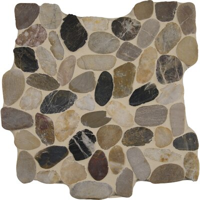 Mix River 12 x 12 Quartz Pebble Mosaic Tile in Gray/Beige