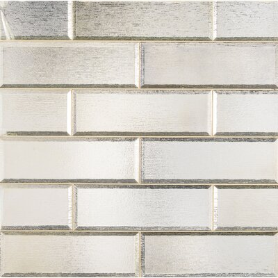 Glisten Beveled 4 x 12 Glass Mosaic Tile in Gray