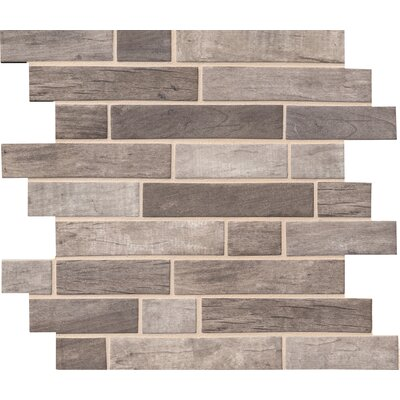Driftwood Interlocking Random Sized Glass/Stone Mosaic Tile in Gray/Taupe