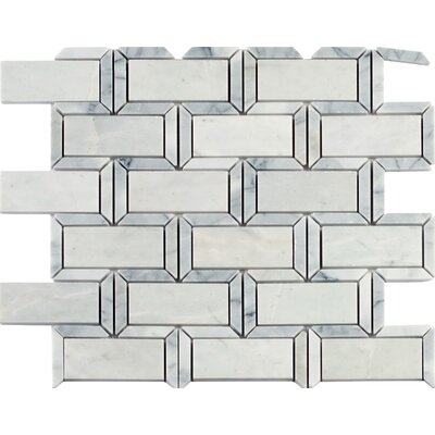 Framework Polished 2 x 4 Marble Mosaic Tile in White/Gray
