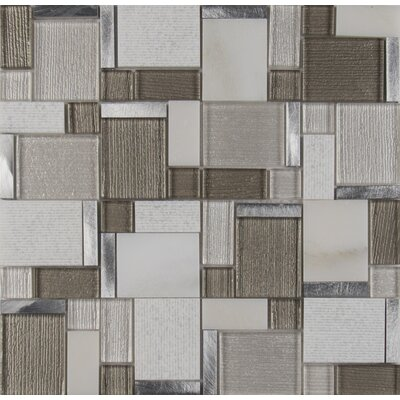 Magica Random Sized Glass/Stone Mosaic Tile in Gray/Brown
