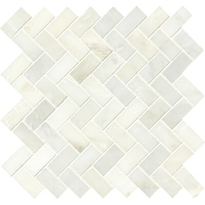 Greecian Herringbone Polished Glass/Stone Mosaic Tile in White