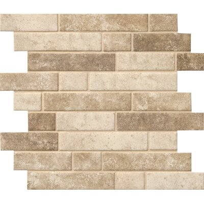 Sandhills Interlocking Random Sized Glass Mosaic Tile in Beige/Brown