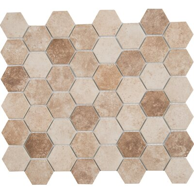 Sandhills Hexagon 2 x 2 Glass Mosaic Tile in Beige/Brown