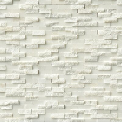 Arabescato Splitface 0.4 x 1.2 Marble Mosaic Tile in White
