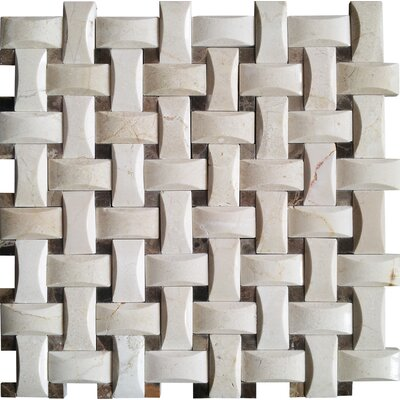 Crema Basketweave Arched Marble Mosaic Tile in Beige