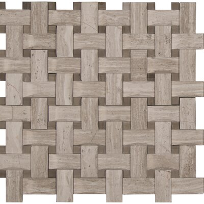 Basketweave Honed Marble Mosaic Tile in Gray