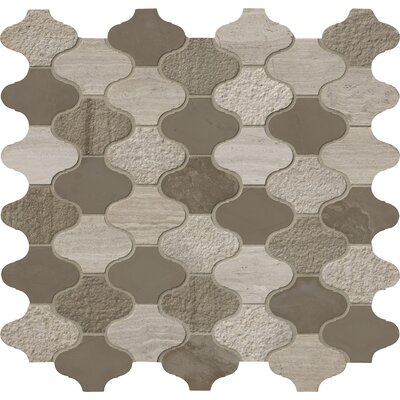 Arctic Storm Arabesque Marble Mosaic Tile in Gray