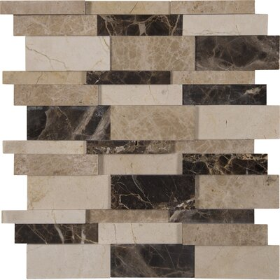 Asteria Blend Interlocking 3D Marble Mosaic Tile in Beige/Brown