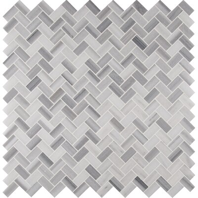 Bergamo Herringbone Polished 1 x 2 Marble Mosaic Tile in White