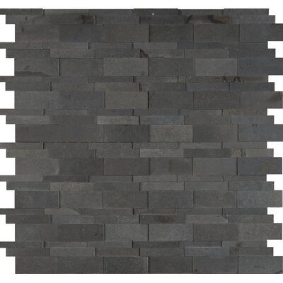 Neptune 3D Interlocking Honed Basalt Mosaic Tile in Blue