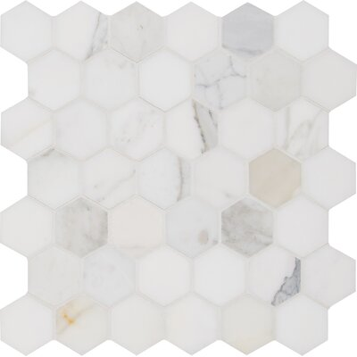 Calacatta Hexagon Polished 2 x 2 Marble Mosaic Tile in White