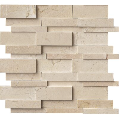Hedron Interlocking 3D Marble Mosaic Tile in Beige