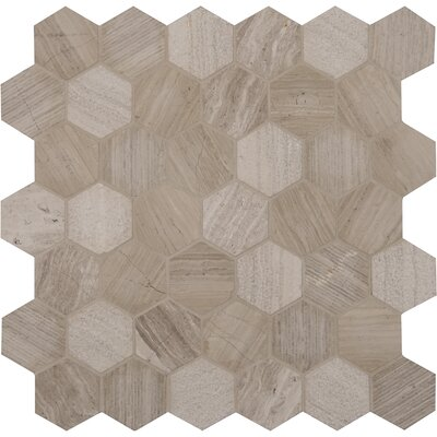 Honey Comb Hexagon 2 x 2 Marble Mosaic Tile in Off-White