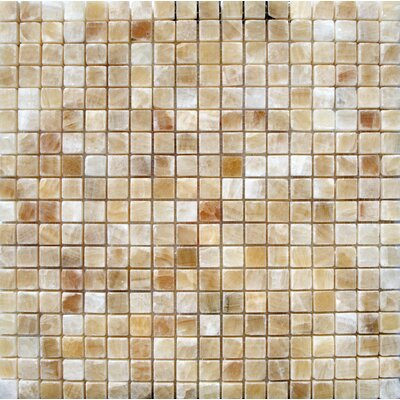 Giallo Crystal 0.63 x 0.63 Onyx Mosaic Tile in Gold