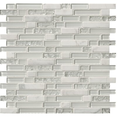 Delano Blanco Glass/Stone Mosaic Tile in White