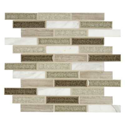 Crystal Cliffs 1 x 4 Glass/Stone Mosaic Tile in Gray