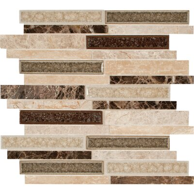 Stonegate Interlocking 6 Stone/Glass Mosaic Tile in Brown