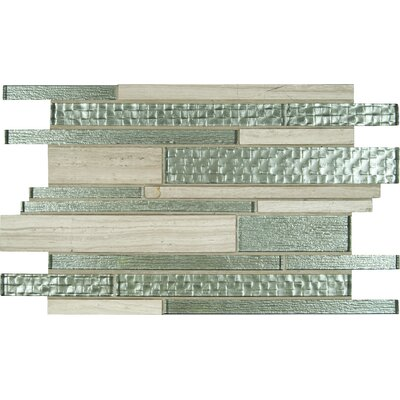 Aria Interlocking Random Sized Glass/Stone Mosaic Tile in Gray