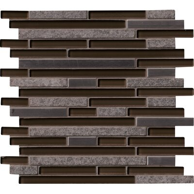Niagra Interlocking Pattern 8mm Glass/Stone Mosaic Tile in Black