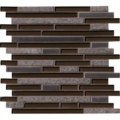 Niagra Interlocking Pattern 8mm Glass/Stone Mosaic Tile in Black