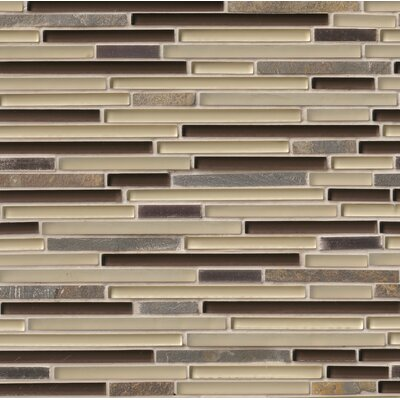 Windsor Canyon Interlocking Pattern 8mm Glass/Stone Mosaic Tile in Multicolor