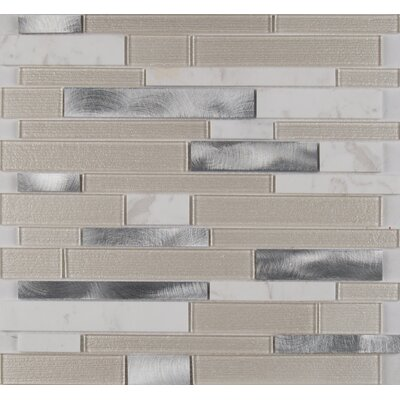 Wave Interlocking Pattern 4mm Glass/Stone Mosaic Tile in White
