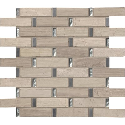 Stella Interlocking Glass/Stone Mosaic Tile in Gray