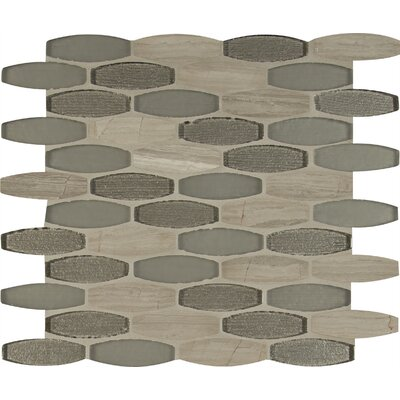 Ellipse Gris 8mm Glass/Stone Mosaic Tile in Gray