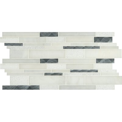 Moderno Blanco Interlocking Stone/Metal Mosaic Tile in White