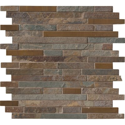 Rustic Creek Interlocking Stone/Metal Mosaic Tile in Multicolor