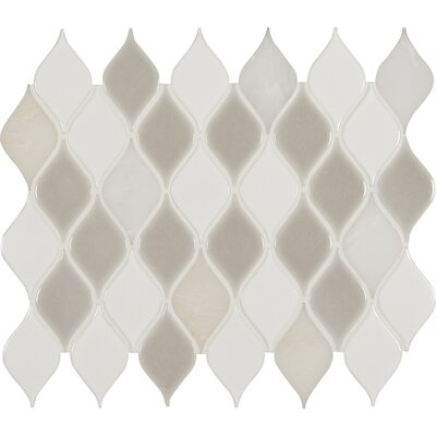 Cresta Blanco Porcelain/Stone Mosaic Tile in Gray