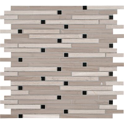 Interlocking Honed Marble Mosaic Tile in White Oak