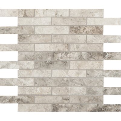 Tundra Polished 1 x 4 Marble Mosaic Tile in Gray