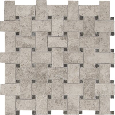 Tundra Basketweave Pattern Polished Marble Mosaic Tile in Gray