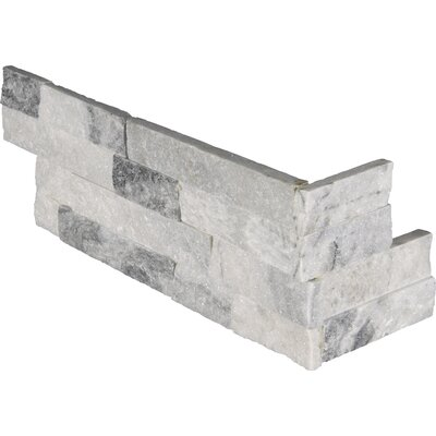 Alaska Gray 6 x 18 Marble Splitface Tile in Gray/White