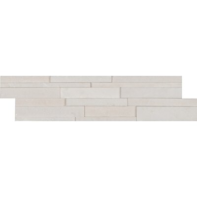 6 x 24 Marble MosaicTile in White (Set of 4)