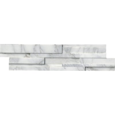 6 x 24 Marble Mosaic Tile in White/Gray (Set of 4)