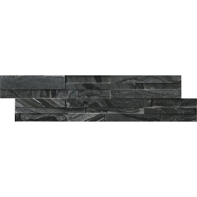 6 x 24 Marble Mosaic tile in Black (Set of 4)
