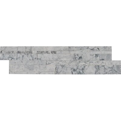 6 x 24 Marble Splitface in White/Gray