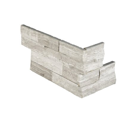 6 x 18 Marble Splitface Tile in White/Gray (Set of 7)