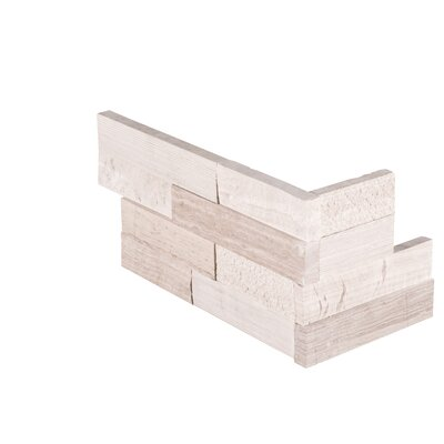 6 x 18 Marble Splitface Tile in White (Set of 6)