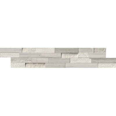 6 x 24 Marble Splitface Tile in White  (Set of 4)