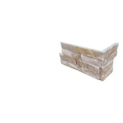 6 x 18 Quartzite Splitface Tile in White/Gold (Set of 5)