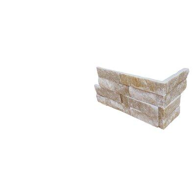 6 x 18 Quartzite Splitface Tile in White/Gold