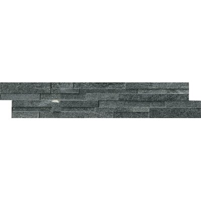 6 x 18 Quartzite Splitface Tile in Black