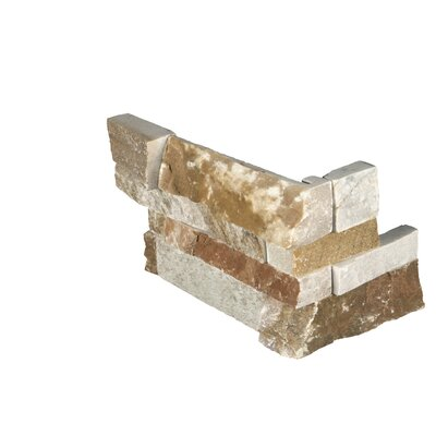 6 x 18 Quartzite Splitface Tile in Gold/Brown (Set of 5)